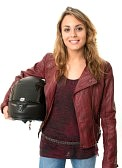 female motorcylist life insurance photo
